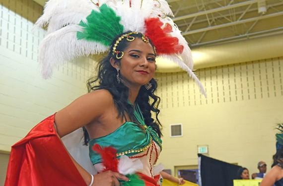 Contestant Thalia Gomez in the colors representing Mexico.