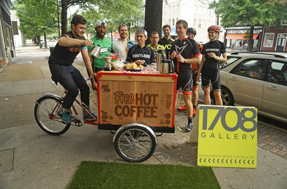 The Coffee Bike features a pop-up, pour over station and is run by Rams in Recovery, a VCU group that addresses many kinds of addictions, including alcoholism and eating disorders.