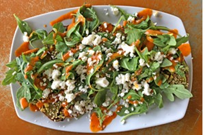 Perhaps more salad than toast, Ellwood Thompson's take includes arugula, pistachios, goat cheese and red pepper vinaigrette. - SCOTT ELMQUIST