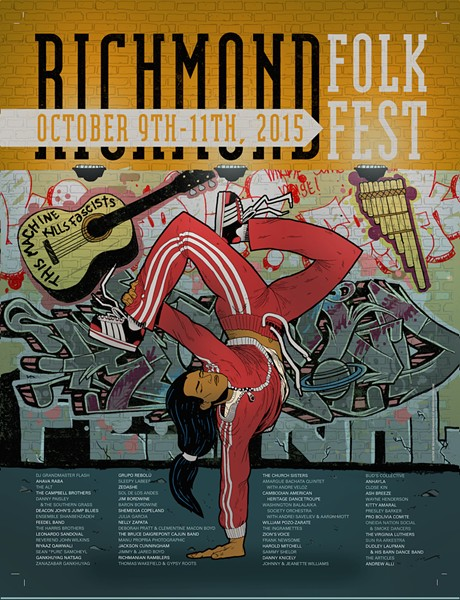 Feast your eyes on the 2015 Richmond Folk Fest Poster by local artist Bizhan Khodabandeh. Kind of has a Native American b-girl, yoga sesh feel to it.