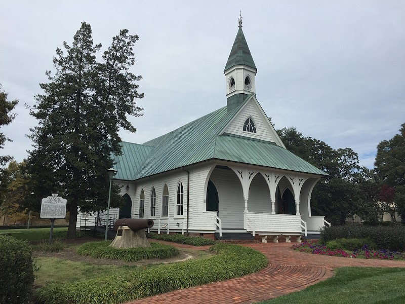 The Confederate Memorial Chapel near VMFA was built in 1887 by Confederate veterans.