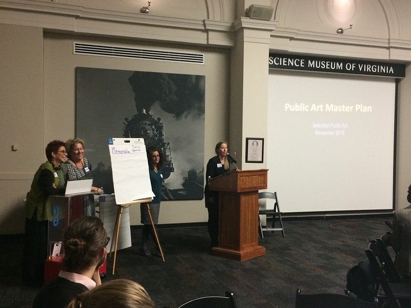 [From right] Susan Reed, chair of the public arts commission, the city's public art coordinator Ellyn Parker, and consultants Gail Goldman and Gretchen Freeman.