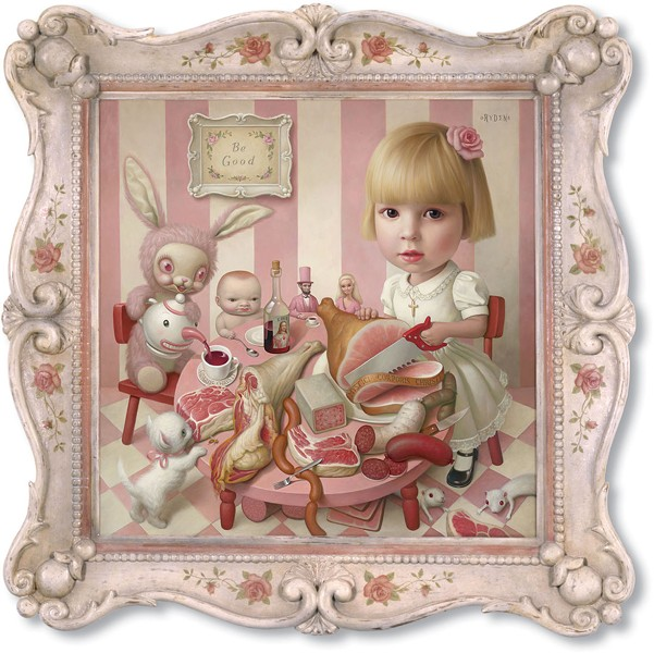 """Rosie's Tea Party"" by artist Mark Ryden depicts a little girl sawing at a ham that is inscribed with ""Mystici Corporis Christi."""