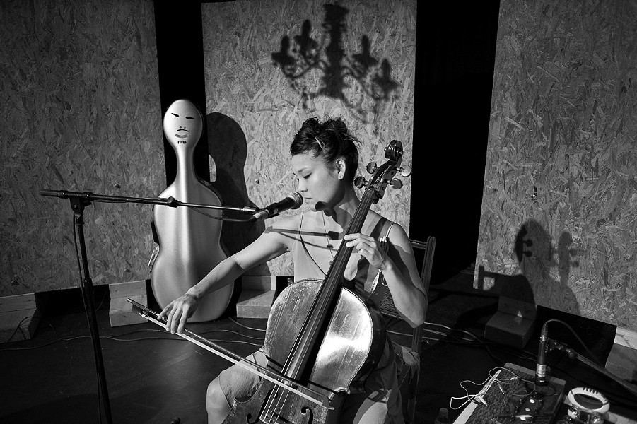 "Chinese-American cellist and vocalist, Audrey Chen pictured. David Harrington of the Kronos Quartet has described her work as ""fascinating and gripping"" and ""possessing something extremely vital and vivid...."""