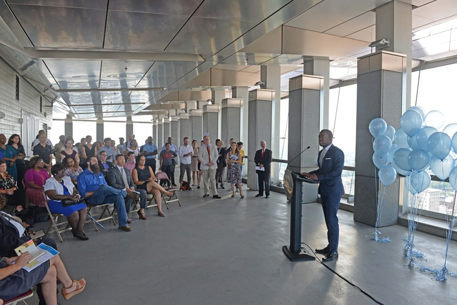 Mayor Levar Stoney announces plans in the observation deck of City Hall to revamp Richmond's master plan. - SCOTT ELMQUIST