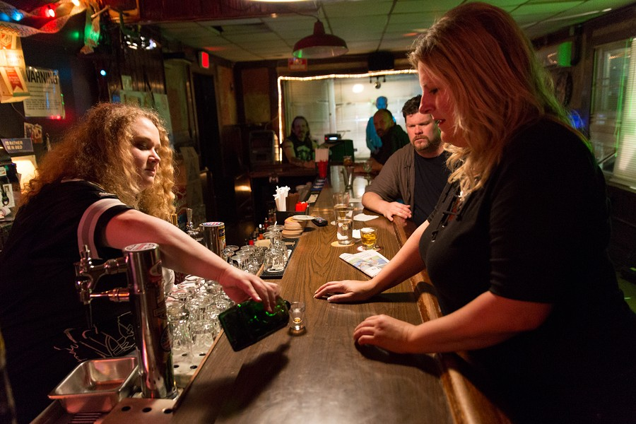 Danielle MacDonald as Patti serves Jager shots to her mother, played by Bridget Everett.