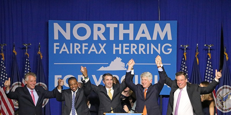 Election Night Newly elected Governor of Virginia Ralph Northam is joined onstage in Fairfax by Senator Mark Warner, Attorney General Mark Herring, newly elected Lieutenant Governor Justin Fairfax and current Governor Terry McCuliffe. Charlotte Rene Woods