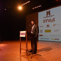 Women in the Arts Cocktail Reception & Awards Jon Gunter, Marketing Director for the  Modlin Center for the Arts, addresses the crowd.