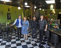 Fuzzy Cactus co-owners Michael Cipollone and his wife, Patty Conway, Drew Schlegel and bar manager Paul Kirk stand inside their new restaurant and venue with the '70s basement bar vibe at 221 W. Brookland Park Blvd.  They'll be booking shows mostly on weekends.