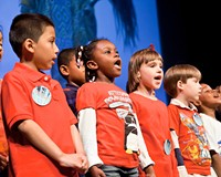 Kid Pan Alley, shown here in concert at the Virginia Museum of Fine Arts, helps kids create their own music through group songwriting.