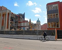 The VCU Franklin Street Gymnasium in the 800 block of West Franklin Street was demolished this spring, providing a temporary view of the Cathedral of the Sacred Heart. A six-story academic building will replace the campus' mid-century modern landmark.