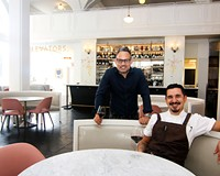 Quirk Hotel's Food and Beverage Director Morgan Slade and Lobby Bar Executive Chef Felipe Bolivar (seated).