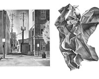 """City 1"" (left) and ""Paper 2"" are two graphite drawings by artist Sylvio Lynch III featured in ""Drawn Discovery,"" his debut exhibition at the Reynolds Gallery."