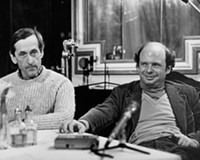 "André Gregory, at left, who plays himself, the sophisticated title character in ""My Dinner with André,"" and his co-star and co-author, the more down-to-earth Wallace Shawn, donned ski wear under their clothing to stay warm during the Richmond filming in December 1980."