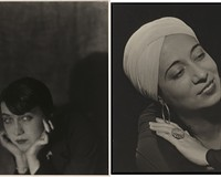 """Berenice Abbott,"" 1921. (negative, printed later) gelatin silver print. ""Elsie Houston,"" 1933, gelatin silver print."