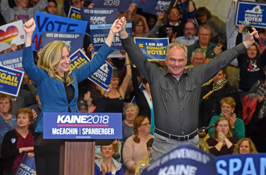 After she won the primary election, Sen. Tim Kaine endorsed Spanberger for the House of Representatives. - SCOTT ELMQUIST