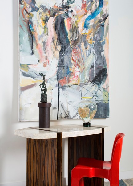 A painting by Robert Saltonstall, a console by Maitland Smith, chair by Joe Colombo and vase by Salviati, and a sculpture that was unsigned are part of the Art, Style, Design fair at the Highpoint.