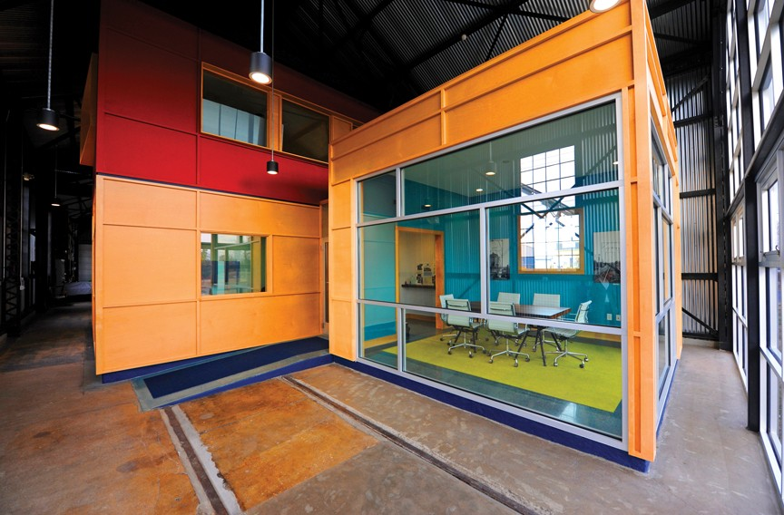 For the offices of Dovetail Construction Co. on Brook Road, new energy-efficient office spaces were set within a historic trolley-car barn. - SCOTT ELMQUIST