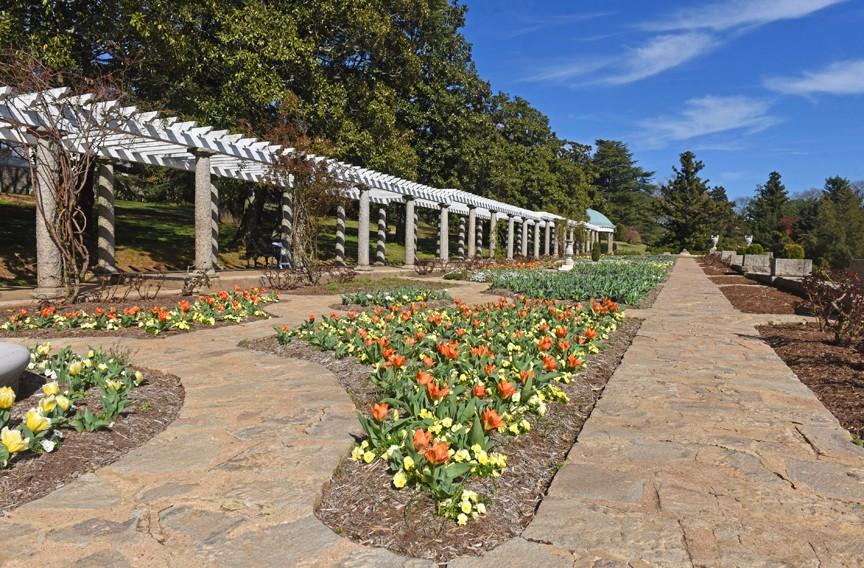 A pergola with granite columns provides an architectural backdrop for the Italian garden. - SCOTT ELMQUIST