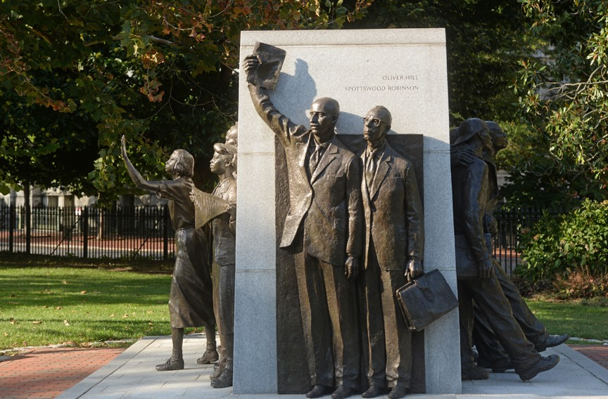 The Virginia Civil Rights Memorial, featuring lawyers Oliver Hill and Spottswood Robinson, opened in 2008 on the grounds of the Virginia State Capitol. - SCOTT ELMQUIST