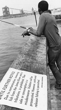 Virginia Gov. Mills Godwin restricted fishing for years in a portion of the James River, but some sportsmen, pictured in September 1976, apparently ignored the cautions. - DAILY PRESS ARCHIVE/WILLARD OWEN