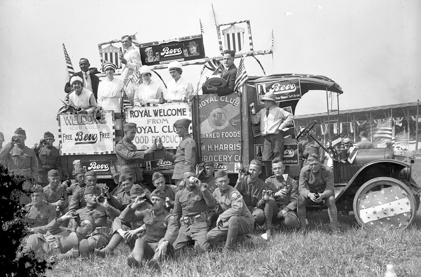 During World War I, soldiers take a break at the Virginia State Fairgrounds and enjoy refreshments from a Beva soft drink truck. The fairgrounds were between West Broad Street and Hermitage Road where the Science Museum of Virginia and the Redskins training camp now stand. - THE VALENTINE