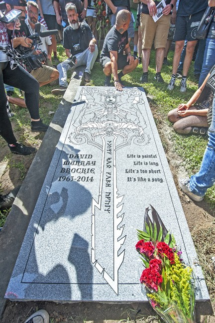 The memorial marker for David Brockie (Oderus Urungus) was unveiled today in Hollywood Cemetery.