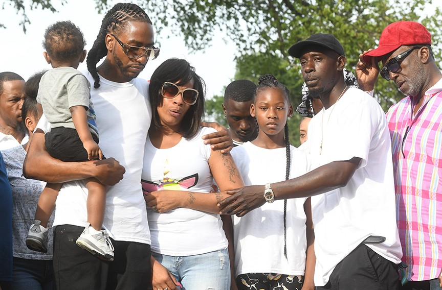 A couple hundred people came out for a vigil for Markiya Simone Dickson at Carter Jones Park on June 7. - SCOTT ELMQUIST/FILE