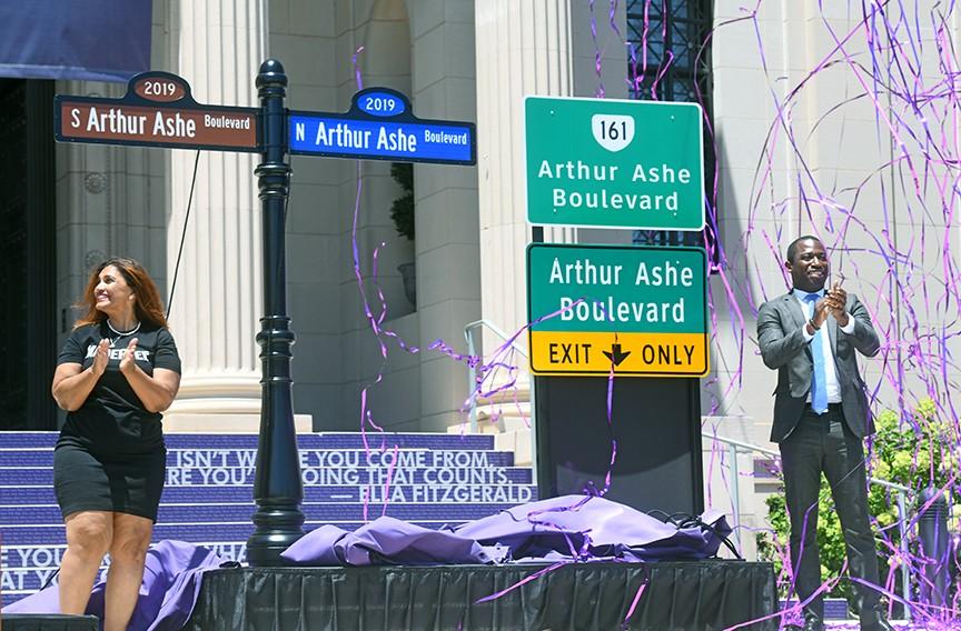 Richmonder of the Year Kimberly Gray celebrates the renaming of the Boulevard to Arthur Ashe Boulevard with Mayor Levar Stoney on June 22. - SCOTT ELMQUIST