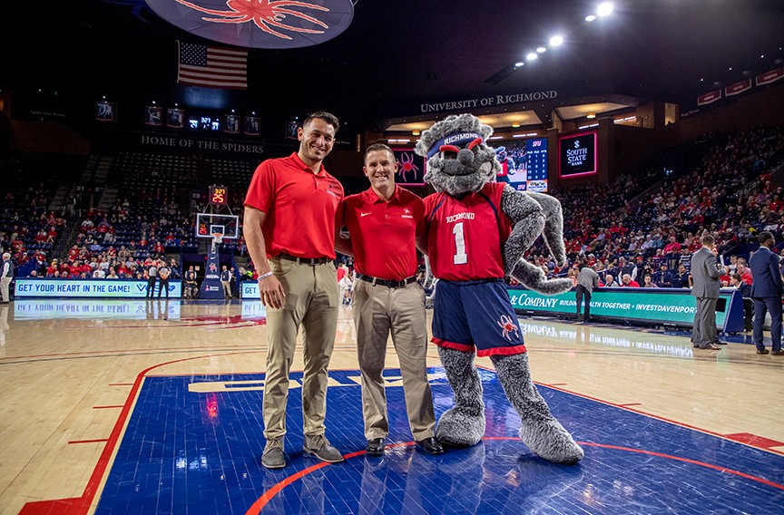 Jonathan de Marte and Nate Mulberg, who coached him at the University of Richmond and now guides him as part of the Israeli Olympic team,  were recognized at the Spiders' basketball season opener. - COURTESY JONATHAN DE MARTE