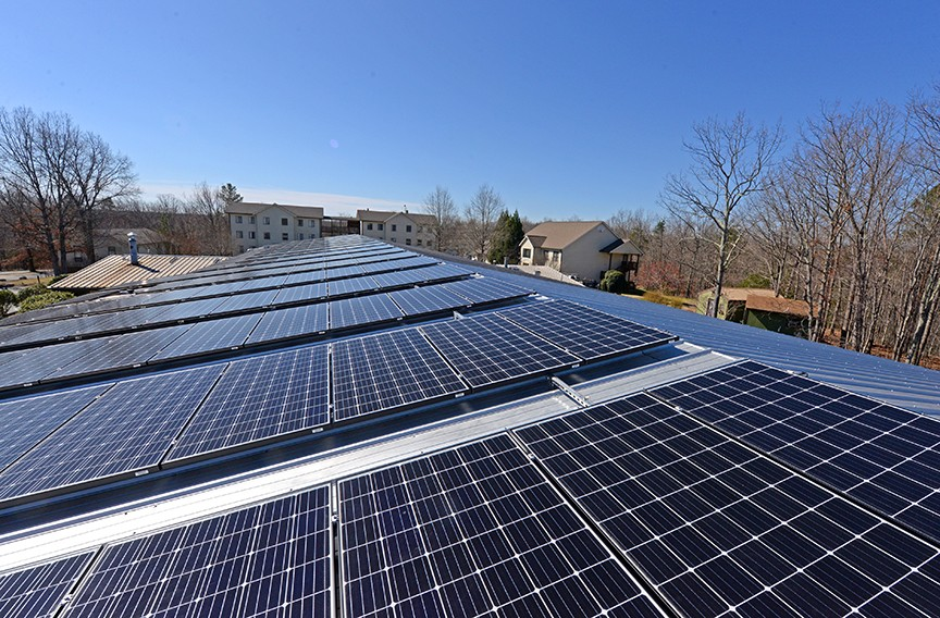 Solar panels seen on the Yogaville administration building in Buckingham County. - SCOTT ELMQUIST/FILE