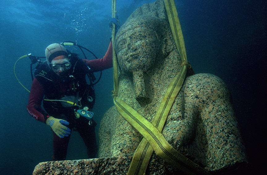 Weighing in at 5.6 tons and standing 17 feet, god of fertility Hapy was discovered by underwater French archeologist Frank Goddio at the bottom of Aboukir Bay. - CHRISTOPH GERIGK © FRANCK GODDIO/HILTI FOUNDATION