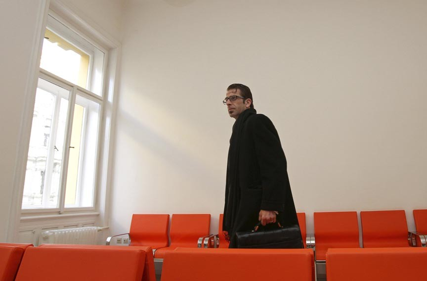 Lamb of God singer Randy Blythe arrives for his trial at the Municipal Court in Prague on March 5, 2013. Blythe faced a 10-year sentence for the death of a 19-year-old fan, who allegedly was thrown from the stage and suffered a brain injury. - REUTERS/DAVID W. CERNY