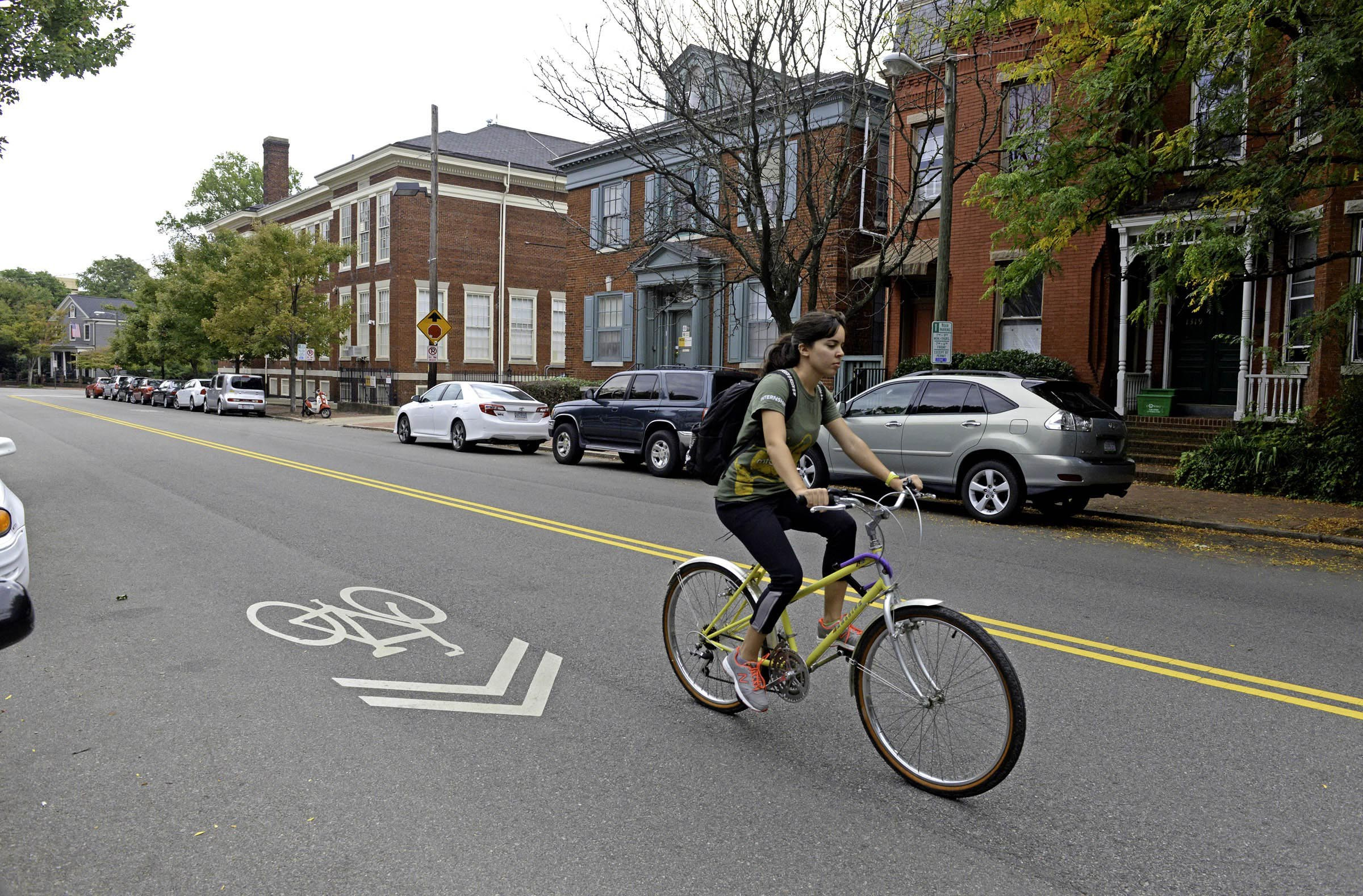 Sharrows, like these along Floyd Avenue, have been visible signs of a strong bike presence. The recent international races have invigorated the cycling community. - SCOTT ELMQUIST