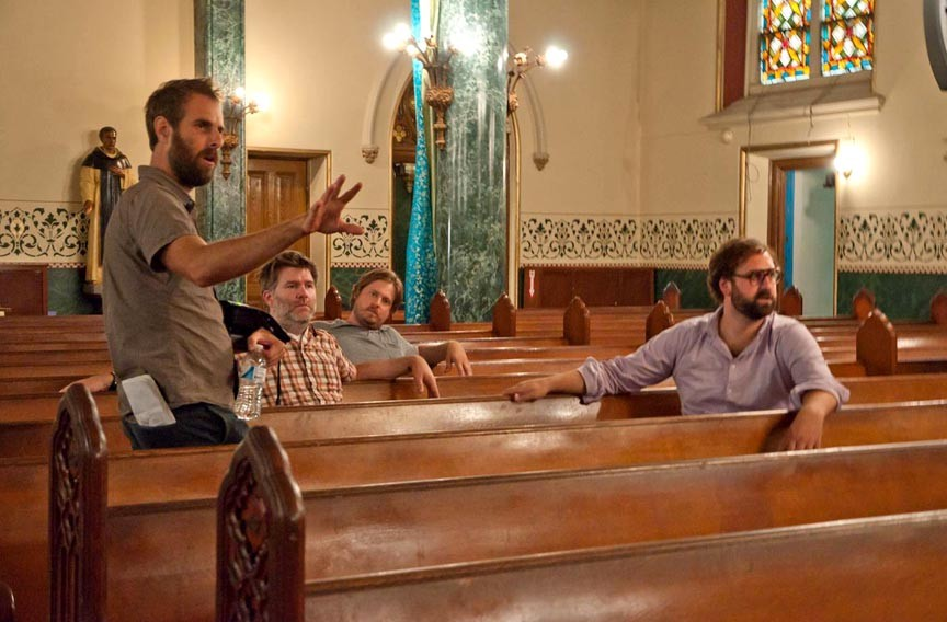 Alverson, left, directs a chapel scene starring James Murphy of LCD Soundsystem fame, Tim Heidecker and Eric Wareheim. When the first 10 minutes were leaked after its 2012 Sundance Film Festival premiere, it wound up the most pirated independent film of the year.