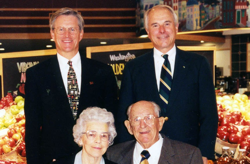 Bobby and Jim Ukrop, standing, pose for a portrait with their parents, Jacquelin and Joseph.