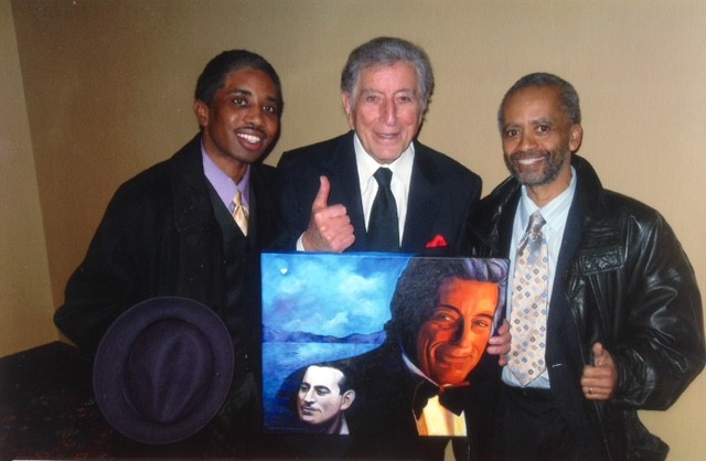 Richmond artists Jeromyah Jones, crooner Tony Bennett, and Jerome W. Jones, Jr.