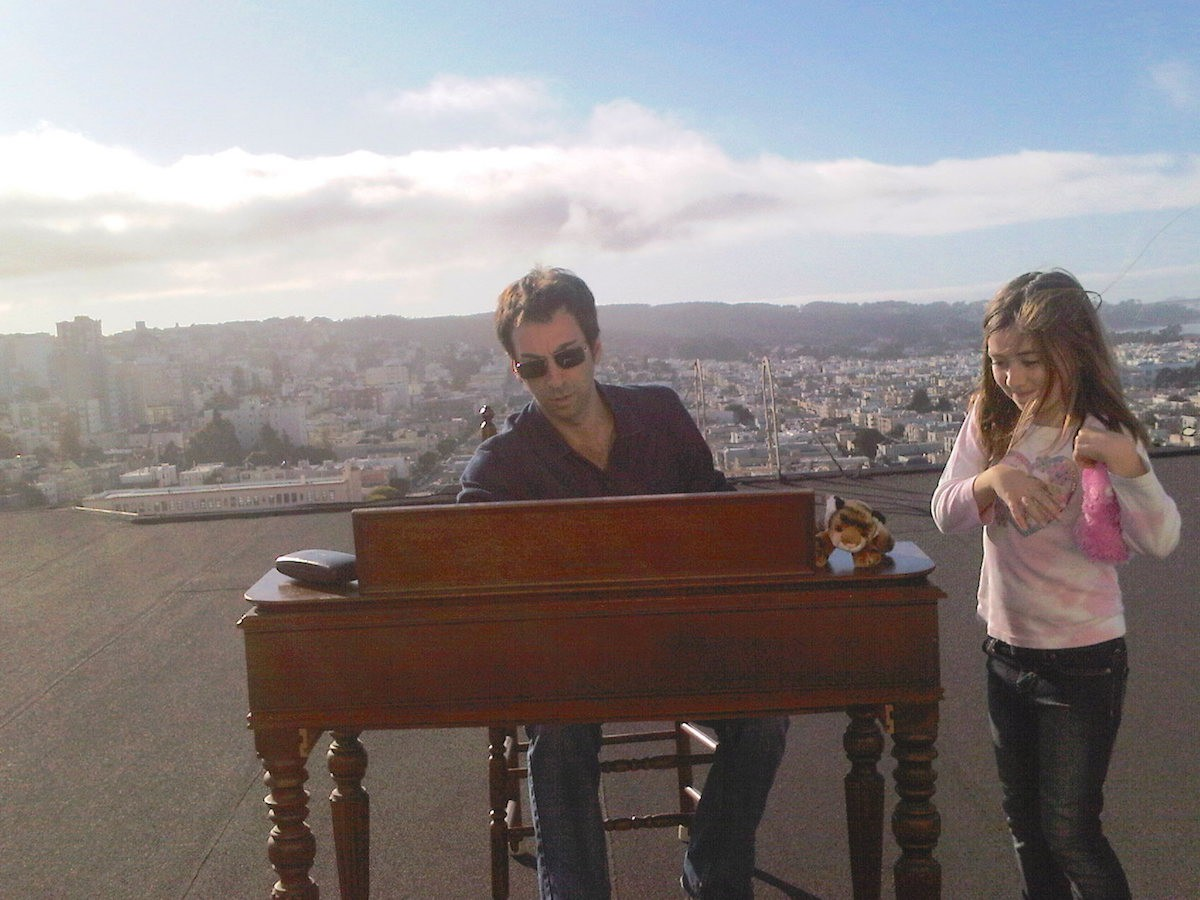 Tompkins Square founder Josh Rosenthal and his daughter overlooking their home of San Francisco.