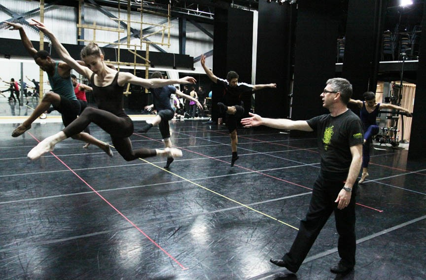 """Guest Choreographer Mark Annear (right) directs Richmond Ballet in rehearsal for his new work, """"City Life."""" - SARAH FERGUSON"""
