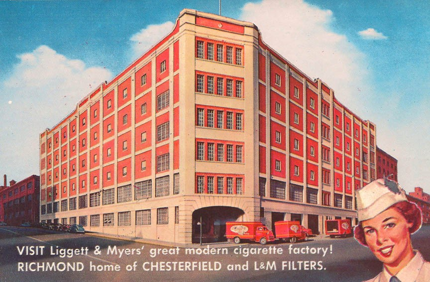 The Richmond Plaza building that occupies the downtown block bounded by Canal, Cary, Sixth and Seventh streets, is shown on a 1960s postcard. It was built by Liggett & Meyers Tobacco Co. as a cigarette factory.