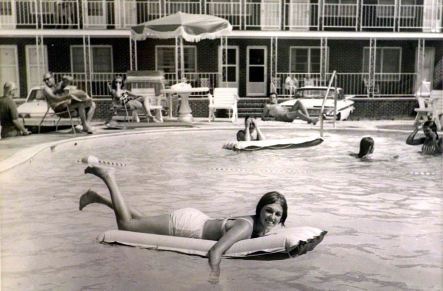 Vacationers lounge and swim at an Outer Banks hotel during a trip in the late 1960s. The photo was made by Aycock Brown while he was director of the Dare County Tourist Bureau. - THE VIRGINIAN_PILOT