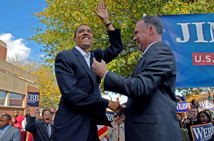 Then-Sen. Barack Obama and Tim Kaine, as governor, rally at Virginia Union University on Nov. 2, 2006, for the senate campaign of Jim Webb, not pictured. - SCOTT ELMQUIST