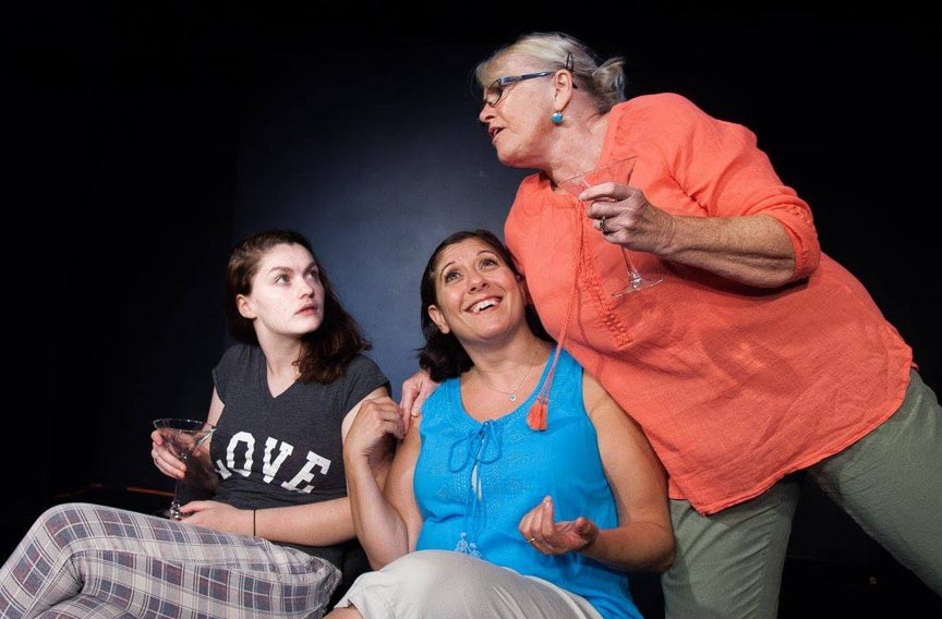 """Aiden Orr plays Avery, and Sara Heifetz as Gwen, and Linda Beringer as Alice in the rehearsals for 5th Wall Theatre's """"Rapture, Blister, Burn."""" - DANNY HOLCOMB"""