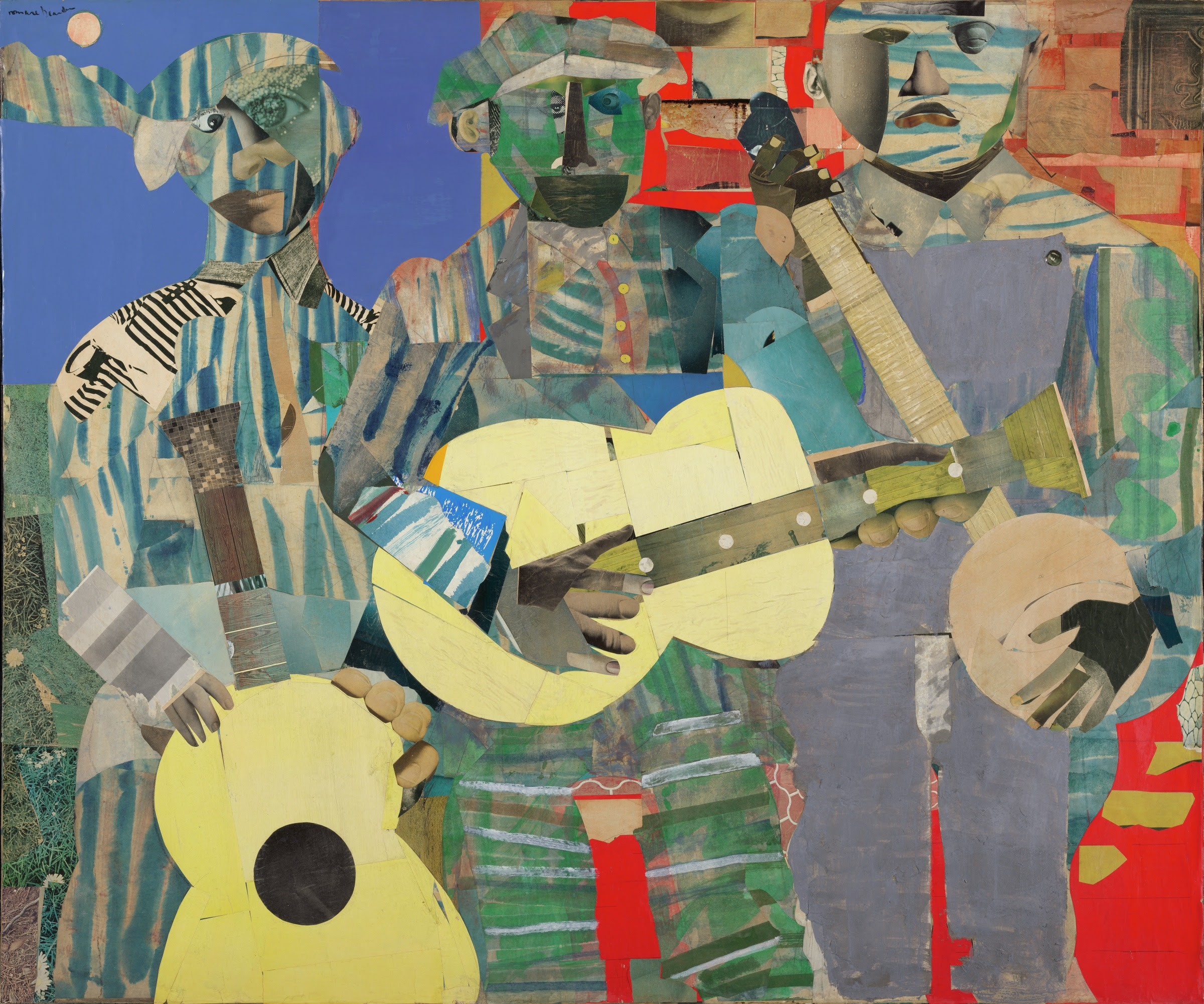 """""""Three Folk Musicians,"""" 1967, Romare Bearden (American, 1911-1988), collage of various papers with paint and graphite on canvas, 50 x 60 in. Art © Romare Bearden Foundation/Licensed by VAGA, New York, NY"""
