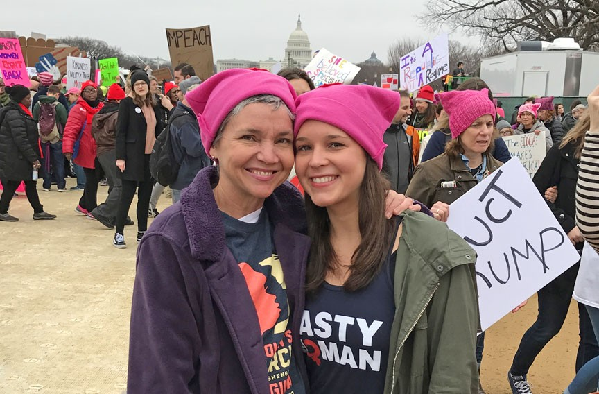 "Julie Wescott Weissend and her daughter, Mary Genevieve Weissend, of Richmond wore ubiquitous pink knit hats. ""It was amazing to have such an infusion of inspiration from my daughter and this incredible array of other helpful, creative and intentional human beings,"" Julie says. - PAUL WEISSEND"