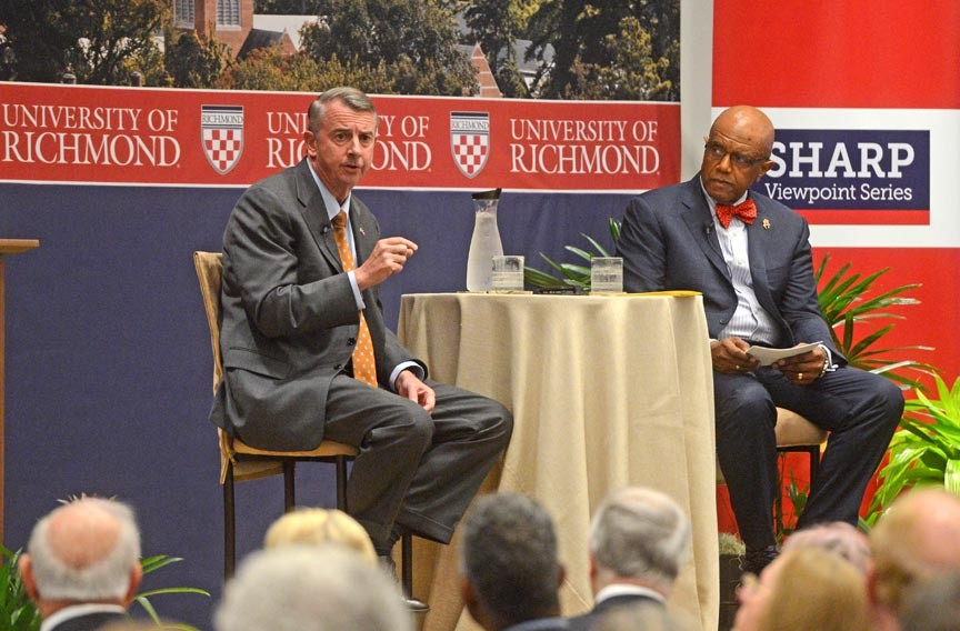 Gillespie answers questions put to him by University of Richmond President Ronald Crutcher on Oct. 11 in an event at the school. - SCOTT ELMQUIST