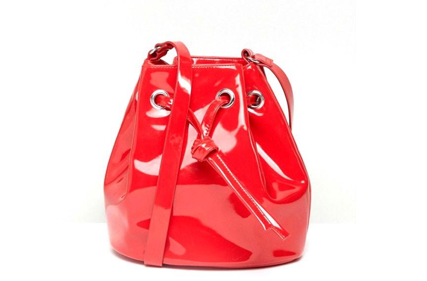 Monki vinyl bucket bag