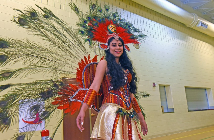 Miss Hispanidad contestant Loren Gonzalez wears an outfit constructed by her mother that represents her Guatemalan heritage. - SCOTT ELMQUIST