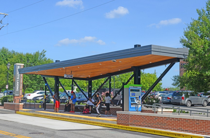 The Pulse station design combines retro-modern elements such as steel and a cantilevered roof with red bricks. - SCOTT ELMQUIST