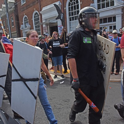 Protestors and counter-protestors clash